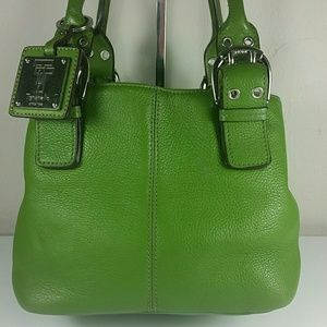 Tignanello green leather Doctor elbow bag